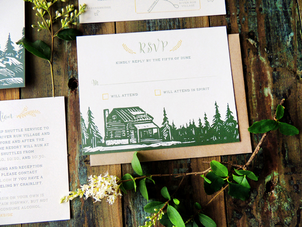 Mountain Evergreen Wedding Invitations Harken Press5 Margaret + Glenns Mountain Inspired Wedding Invitations