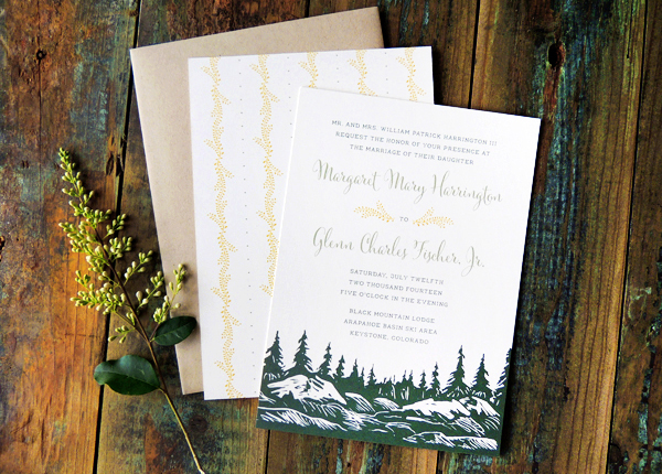 Mountain Evergreen Wedding Invitations Harken Press6 Margaret + Glenns Mountain Inspired Wedding Invitations