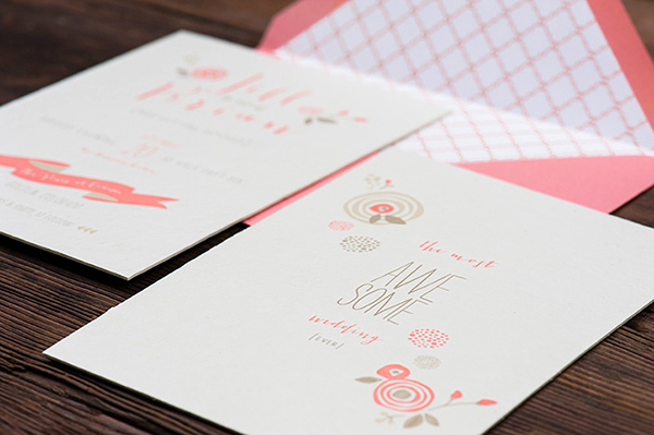 Pink Letterpress Wedding Invitations RuffHouseArt OSBP3 Jill + Brians Modern Pink Letterpress Wedding Invitations