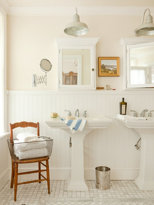 Pink Wainscotting Beadboard Bathroom Rue Magazine OSBP at Home: Small Bathroom Renovation Inspiration