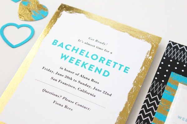 Teal Gold Modern Bachelorette Party Invitations Vellum Vogue OSBP Alanas Modern Teal + Gold Bachelorette Party Itineraries