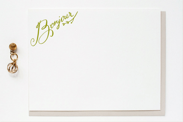 Bonjour Letterpress Stationery Erin Wallace OSBP Quick Pick: Erin Wallace Letterpress Stationery