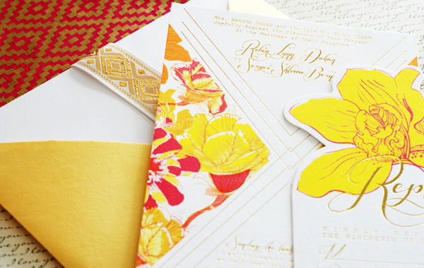 Colorful Floral Gold Foil Wedding Invitations Umama OSBP Robin + Sergeis Floral and Gold Foil Wedding Invitations