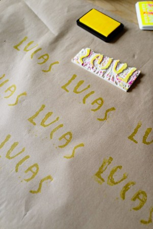 DIY with Kids Hand Stamped Gift Wrap Good on Paper37 300x450 DIY with Kids: Hand Carved Stamp Wrapping Paper