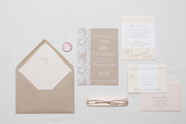 Kraft Paper Lace Wedding Invitations Ruby the Fox OSBP4 Lauren + Jeffs Lace and Kraft Paper Wedding Invitations