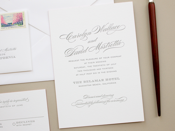 Traditional Romantic Wedding Invitations Banter and Charm OSBP7 Carolyn + Daves Traditional Romantic Wedding Invitations