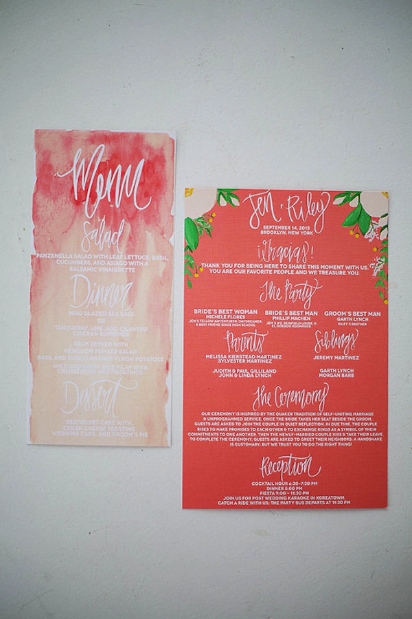 ombre menu Wedding Stationery Inspiration: Bougainvillea