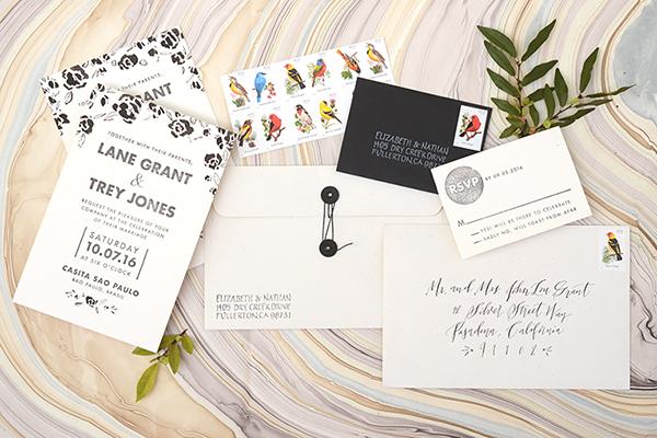 Modern Floral Final DIY Tutorial: Modern Hand Painted Floral Wedding Invitations