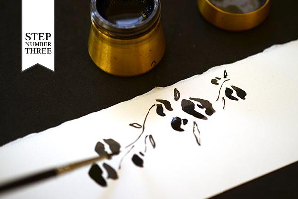 Modern Floral Step3 DIY Tutorial: Modern Hand Painted Floral Wedding Invitations