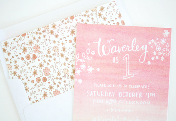Peach Pink Ombre Birthday Party Invitations Printerette Press Waverleys Ombre First Birthday Party Invitations