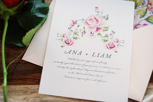 Soft Floral Wedding Invitations Umama OSBP2 Ana + Liams Soft Floral Wedding Invitations