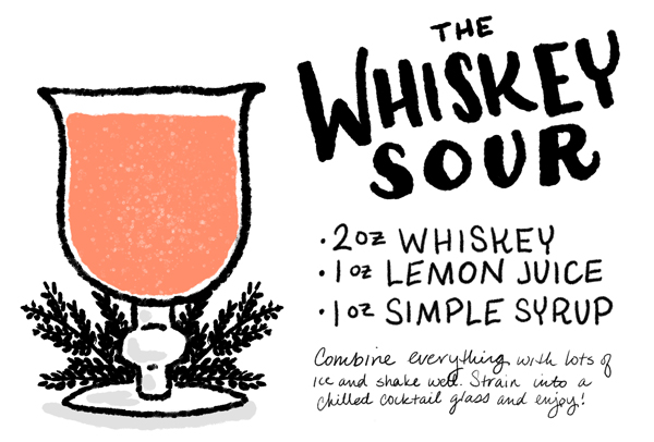 The Whiskey Sour Cocktail Recipe Card Shauna Lynn Illustration OSBP Friday Happy Hour: The Whiskey Sour
