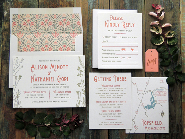 Art Nouveau Garden Wedding Invitations Harken Press OSBP2 Alison + Nathaniels Art Nouveau Garden Wedding Invitations
