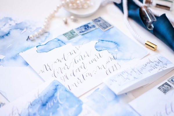 Blue Watercolor Calligraphy Wedding Invitations Moira Design Studio6 Chris + Saras Watercolor Calligraphy Wedding Invitations