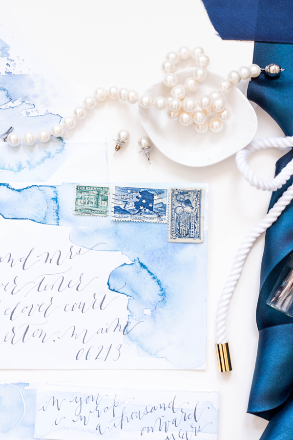 Blue Watercolor Calligraphy Wedding Invitations Moira Design Studio8 Chris + Saras Watercolor Calligraphy Wedding Invitations