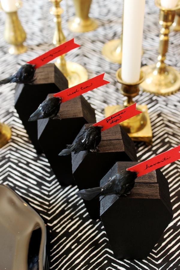 DIY Coffin Food Markers by OSBP 8 DIY Tutorial: Halloween Coffin Food Markers