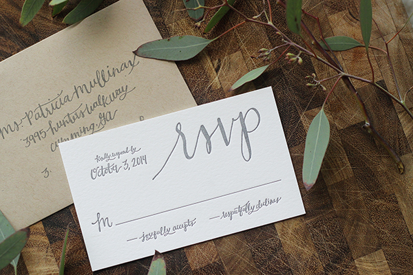 Rustic Calligraphy Wedding Invitation Goodheart Design OSBP14 Lauren + Bradleys Rustic Calligraphy Wedding Invitations