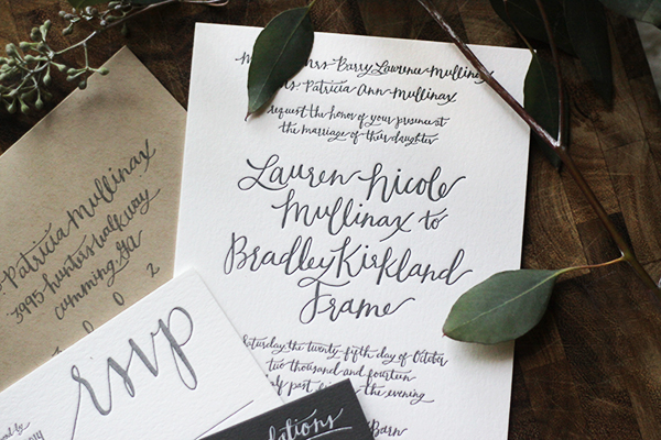 Rustic Calligraphy Wedding Invitation Goodheart Design OSBP7 Lauren + Bradleys Rustic Calligraphy Wedding Invitations