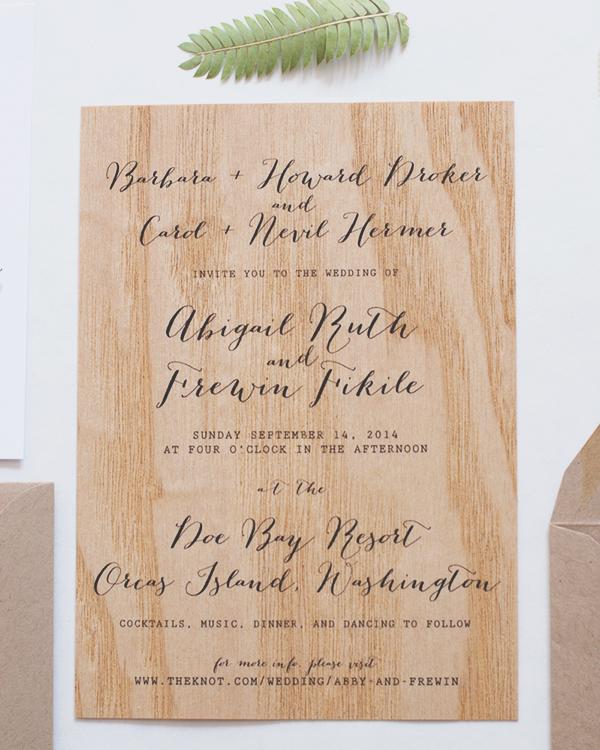 Wood Veneer Wedding Invitation Anelise Salvo Design OSBP3 Abby + Frewins Modern Rustic Wood Veneer Wedding Invitations