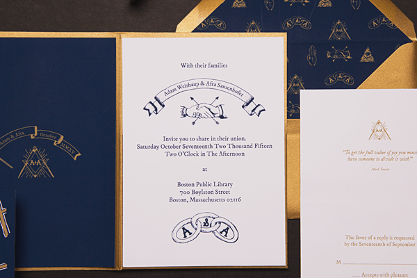 Secret Society Library Wedding Invitations Sparkvites OSBP2 Adam + Afras Secret Society Library Wedding Invitations