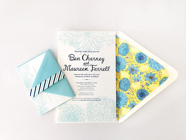 Yellow Blue Illustrated Dahlia Wedding Invitations Caitlin Keegan OSBP2 Ben + Maureens Floral Illustrated Wedding Invitations