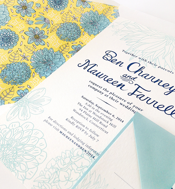 Yellow Blue Illustrated Dahlia Wedding Invitations Caitlin Keegan OSBP4 Ben + Maureens Floral Illustrated Wedding Invitations