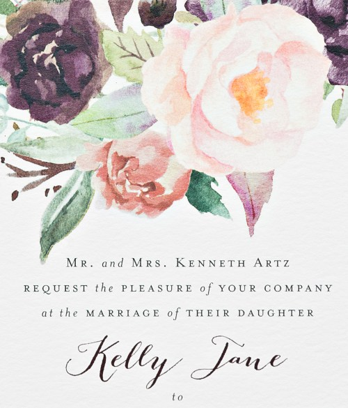 Medium Of Watercolor Wedding Invitations