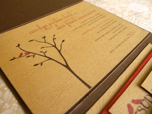 6a00e554ee8a2288330120a5286b0c970b 500wi Carolyn + Alans Rustic Woodgrain Wedding Invitations