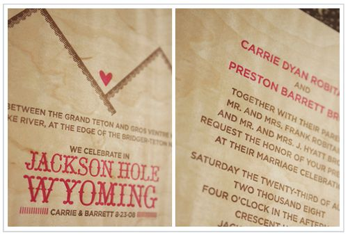 6a00e554ee8a2288330120a679e3b8970c 500wi Carrie + Barretts Wood Veneer Mountain Wedding Invitations