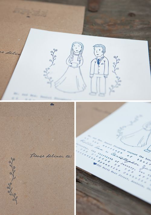 6a00e554ee8a2288330120a7546c78970b 500wi Kellie + Chriss Whimsical Illustrated Wedding Invitations