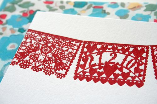 6a00e554ee8a2288330120a7840930970b 500wi Red + Aqua Papel Picado Wedding Invitations