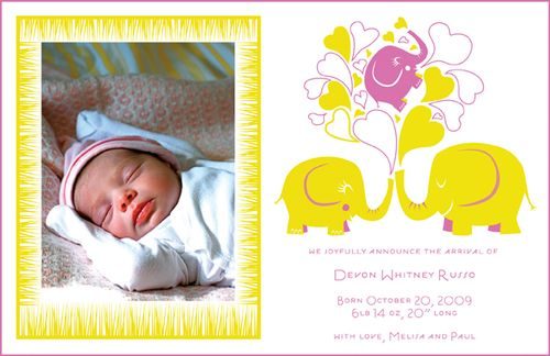 6a00e554ee8a2288330120a8fea6c9970b 500wi Pink + Yellow Elephant Baby Announcements