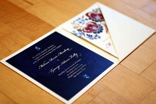 6a00e554ee8a22883301310f8a87e0970c 500wi Melissa + Georges Vibrant Folk Art Wedding Invitations