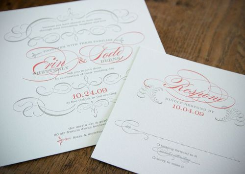 6a00e554ee8a2288330133ec9fb9b0970b 500wi Vintage Inspired Coral + Pewter Wedding Invitations