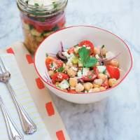 Mason Jar Greek Salad with Chickpeas