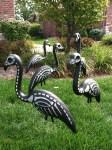 Skeleton Lawn Flamingos