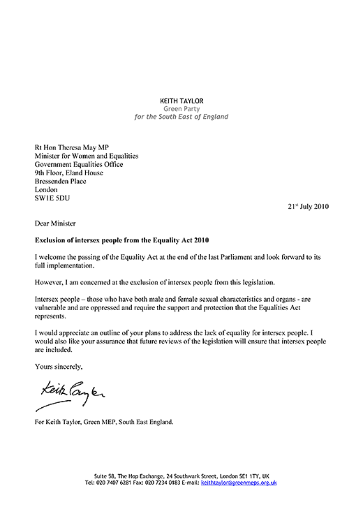 Keith Taylor's letter of 21st July 2010 to Home Minister Theresa May, enquiring why intersex people have been excluded from the UK's Equality Act 2010.