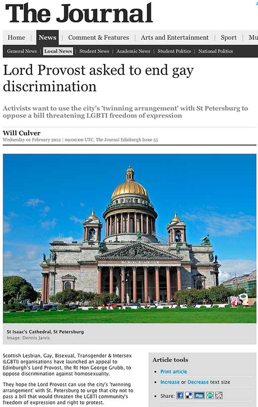 The Journal: Lord Provost asked to end gay discrimination - click to read this article.