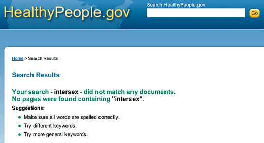 HealthyPeople.gov: null result for search using the term intersex - click to go to this web page.