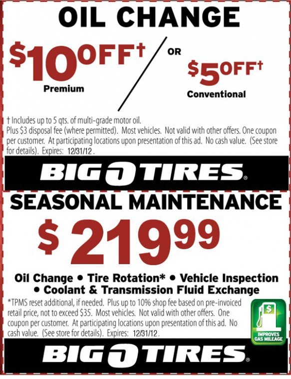 Big O Tires seasonal maintenance oil change coupon
