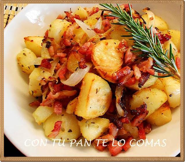 Patatas con bacon al horno