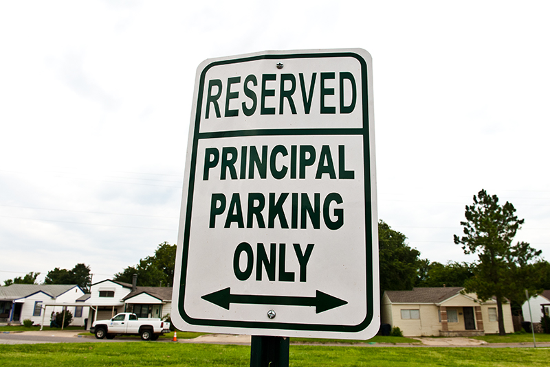 Principal Susan Martin-Rachels' parking spot sign at Fillmore Elementary School in OKC. (Mark Hancock)