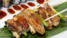 Duck and Scallion robata with the Smoked 3 way roll at Musashi's. (Shannon Cornman)