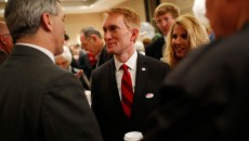 Sen. James Lankford addresses Election Day watch partygoers last week at Tower Hotel Oklahoma City. (Garett Fisbeck)