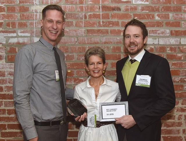 From left, Brian Bergman, Laura Massenat, and Jonathan Stranger. H & 8th were winners for the Best Community Building Effort. (Mark Hancock)