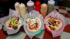 3 tacas on the counter at Big Truck Taco.  Shannon Cornman