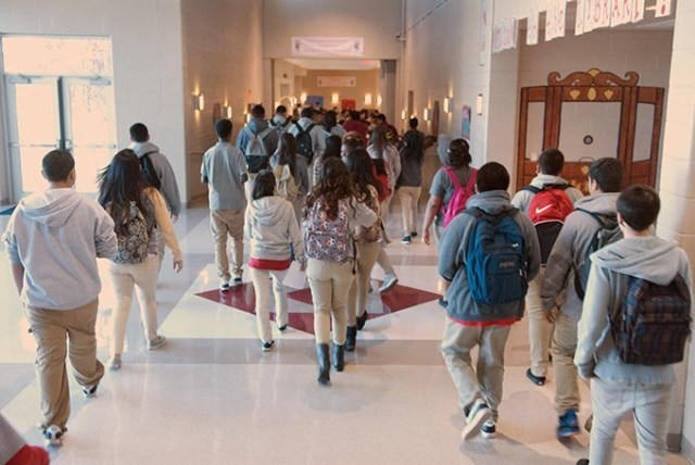 Students walk to class at an Oklahoma City school. Suspension rates have skyrocketed, bringing the attention of the national government. (Mark Hancock / File)