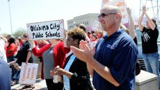 Oklahoma City school superintendent Robert Neu was at Monday's education rally, along with hundreds of staff members from the district. (Garett Fisbeck)