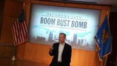 "Oklahoma City mayor Mick Cornett introduces ""Oklahoma City: The Boom, the Bust and the Bomb"" during a Monday screening. (Ben Felder)"