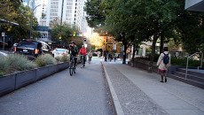 Protected bike lanes in Austin separate cyclists from cars in downtown. (Provided/People for Bikes)